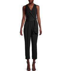 astr the label women's wrap tie-belt jumpsuit - black - size xl