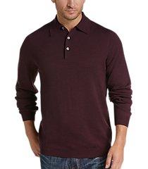 joseph abboud wine polo collar sweater