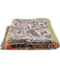 glitzhome women's double jacquard leopard scarf with tassels