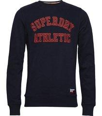 academy ribbed crew sweat-shirt tröja blå superdry
