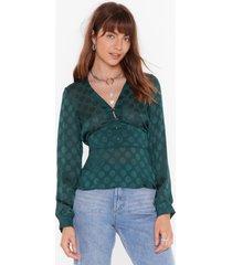 womens as long as i dot you satin v-neck blouse - green