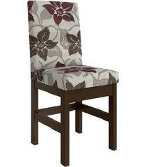cadeira estofada zamarchi 14, tabaco e floral claro