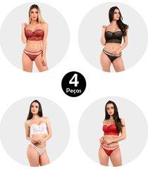 kit 4 conjunto imi lingerie sem alã§a com bojo cropped em renda marjorie sortido - multicolorido - feminino - renda - dafiti
