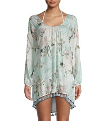 chaser women's floral-print coverup dress - blue steel - size l