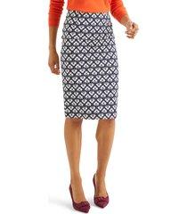 women's boden richmond stretch cotton pencil skirt, size 8 - blue