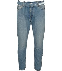 off white slim-fit jeans with belt