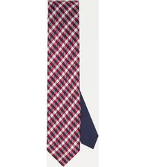 tommy hilfiger men's slim wid check silk tie red/navy/white -