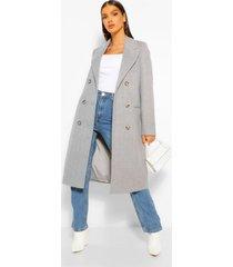 luxe geborstelde nepwollen jas met dubbele knopen, grey