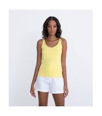 blusa regata básica em poliamida com alça larga | cortelle | amarelo | g