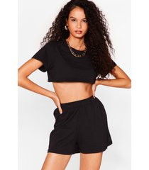 womens ain't no cropping us now tee and shorts set - black