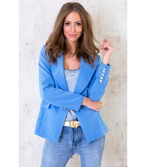 button blazer jeansblauw