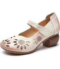 socofy décolleté in pelle con intaglio floreale e cinturino regolabile alla caviglia