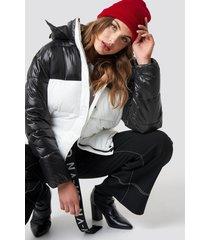 na-kd trend puff block jacket - black,white,multicolor