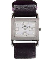hermès 1990 pre-owned barenia wrist watch - white