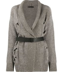 fabiana filippi open cable-knit belted cardigan - brown