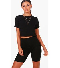 petite basic kort gerecycled t-shirt, black