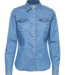 slim western overhemd met lange mouwen blauw lee jeans
