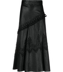 a.n.g.e.l.o. vintage cult 1980s lace appliqué midi leather skirt -