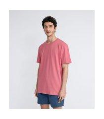 camiseta manga curta mescla em algodão malha rústica easy fit | blue steel | vermelho | gg