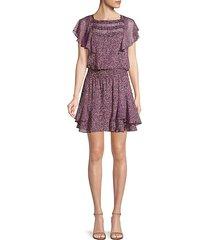 funfetti print ruffle mini dress