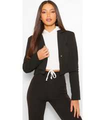 tall crop tailored blazer, black