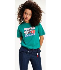 polera signature logo verde tommy jeans