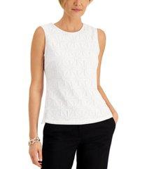 kasper geometric-lace sleeveless top