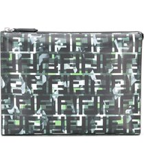 fendi camouflage ff print clutch - black