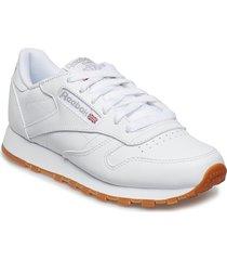 cl lthr låga sneakers vit reebok classics