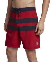 bermuda hombre hurley-negro con rojo