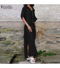 zanzea vestido largo de manga corta con abertura lateral para mujer vestido largo con botones casual sun beach -negro