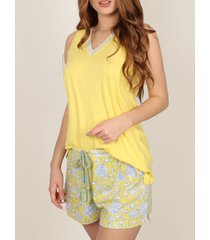 pyjama's / nachthemden admas pyjama shorts tank top geel hippy geel