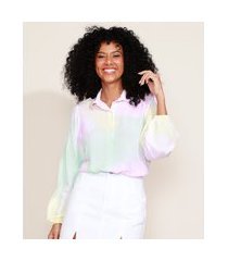 camisa feminina ampla estampada tie dye manga bufante multicor