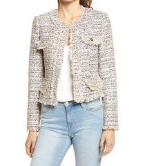 women's ted baker london women's fringe metallic crop tweed jacket, size 5 - pink