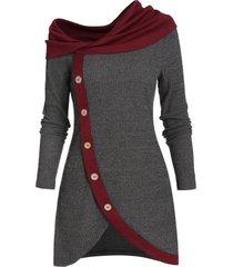cowl neck mock button asymmetric longline sweater