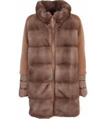 moorer padded coat made of a mix of fabrics
