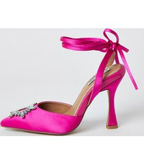 river island womens pink embellished ankle tie court shoes