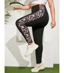 yoins leggings con diseño de patchwork de leopardo de talla grande