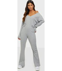nly trend rib shoulder set jumpsuits