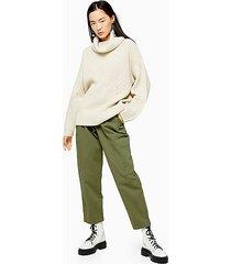 khaki belted utility pants - khaki