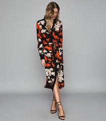 reiss cathleen - floral printed shirt dress in black/ multi, womens, size 12