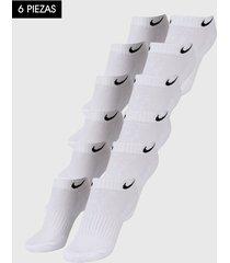 medias x6 blanco-negro nike low cut dri-fit socks