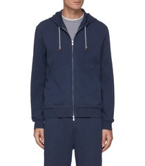 cotton-nylon blend drawstring hoodie