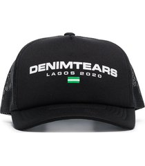 denim tears logo embroidered baseball cap - black