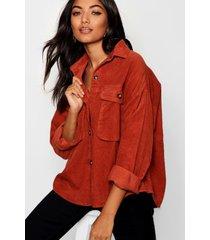 super oversized corduroy blouse met nephoornen knopen, roest
