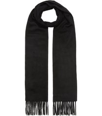 logo embroidered cashmere scarf