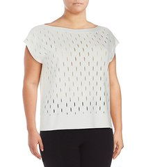 plus decoupe boatneck cap-sleeve top