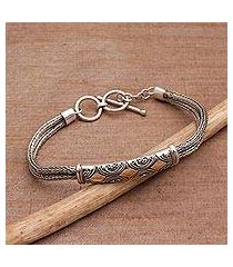 sterling silver wristband bracelet, 'majapahit princess' (indonesia)