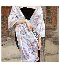 cotton and chanderi silk shawl, 'tulip paradise' (india)