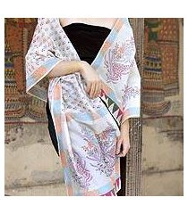 cotton and chanderi silk shawl, 'tulip paradise' (india)